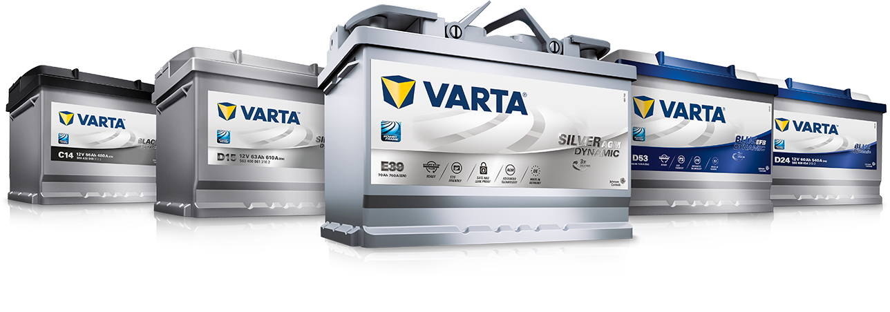 Slide with three VARTA® batteries and a short text right beside it explaining what a battery is.