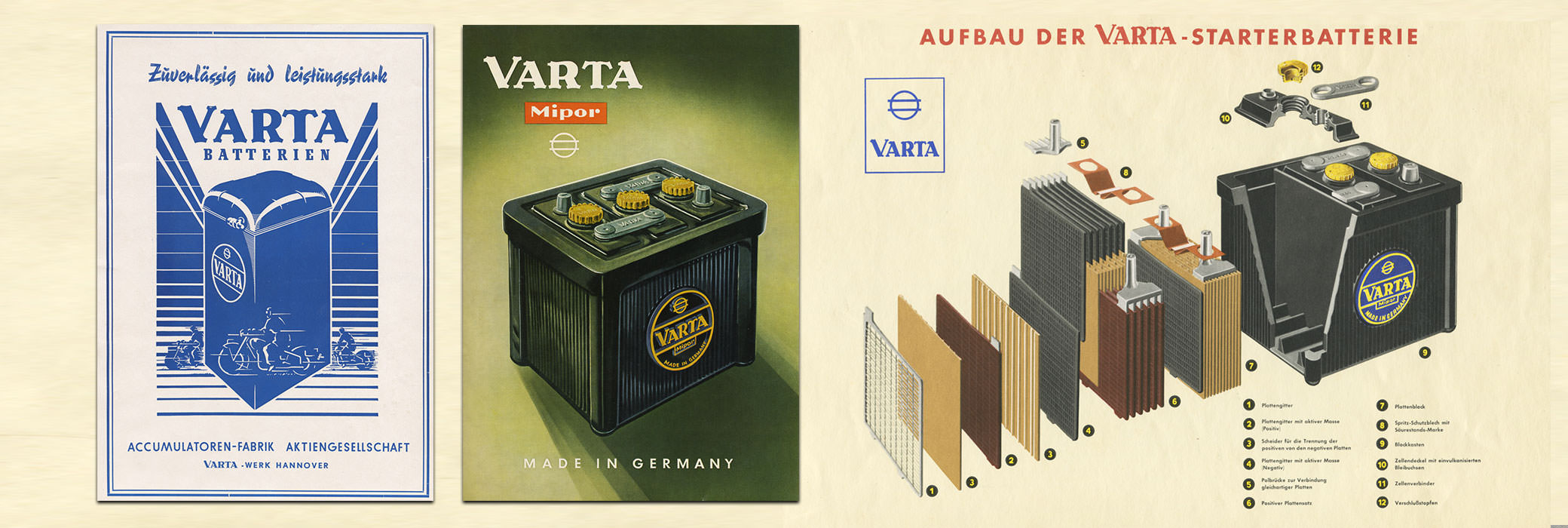 Two VARTA® posters on the left and the cutaway of a battery on the right