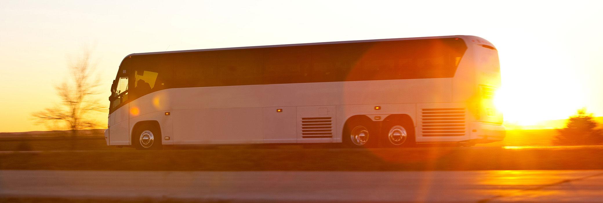 Witte touringcar rijdend op een landweg bij zonsondergang