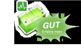 Eine grüne Batterie bedeutet, dass die Batterie ok ist