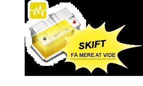Et gult batteri betyder, at det skal skiftes