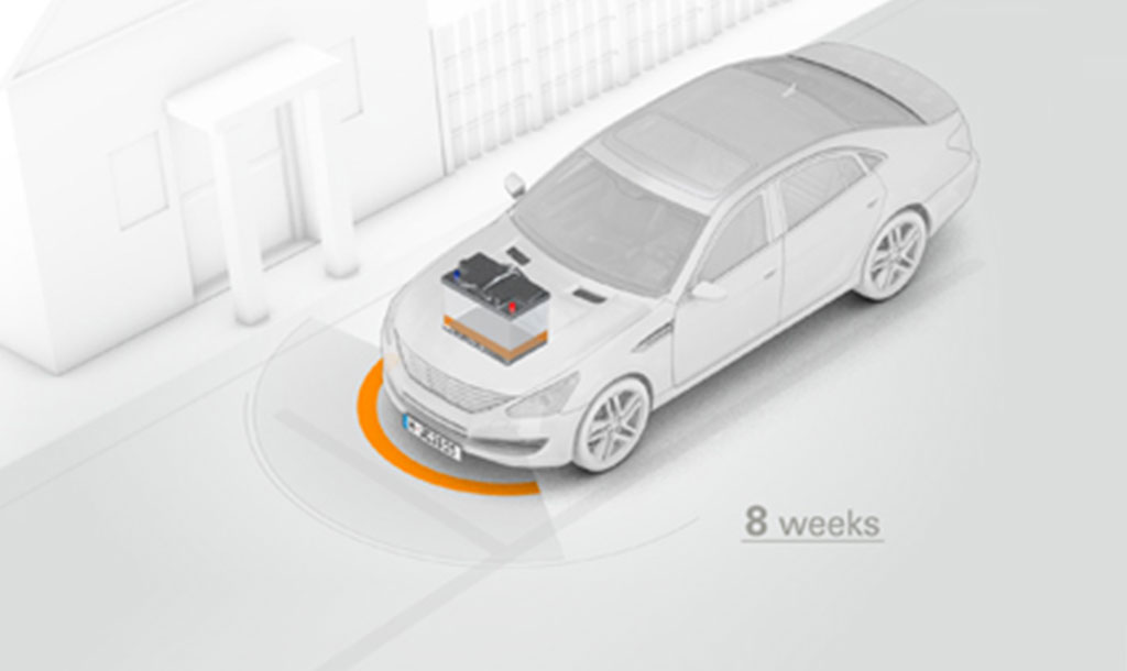 Car with battery and an orange circle infront of it showing that the battery can't be used when it gets used irregular