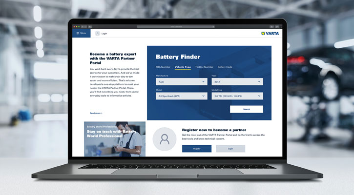 Laptop VARTA Partner Portal