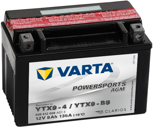 VARTA® Powersports AGM batteries are maintenance-free and don't need any topping up. They're dry-charged batteries with an acid pack.