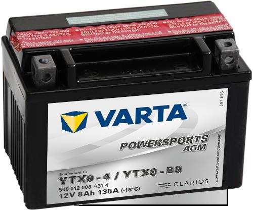 แบตเตอรี่ VARTA®Powersports AGM ไม่ยุ่งยากในการดูแลรักษาและไม่จำเป็นต้องเติมน้ำกลั่น โดยจะเป็นแบตเตอรี่แบบแห้งที่ชาร์จมาแล้วพร้อมด้วยน้ำกรดภายใน