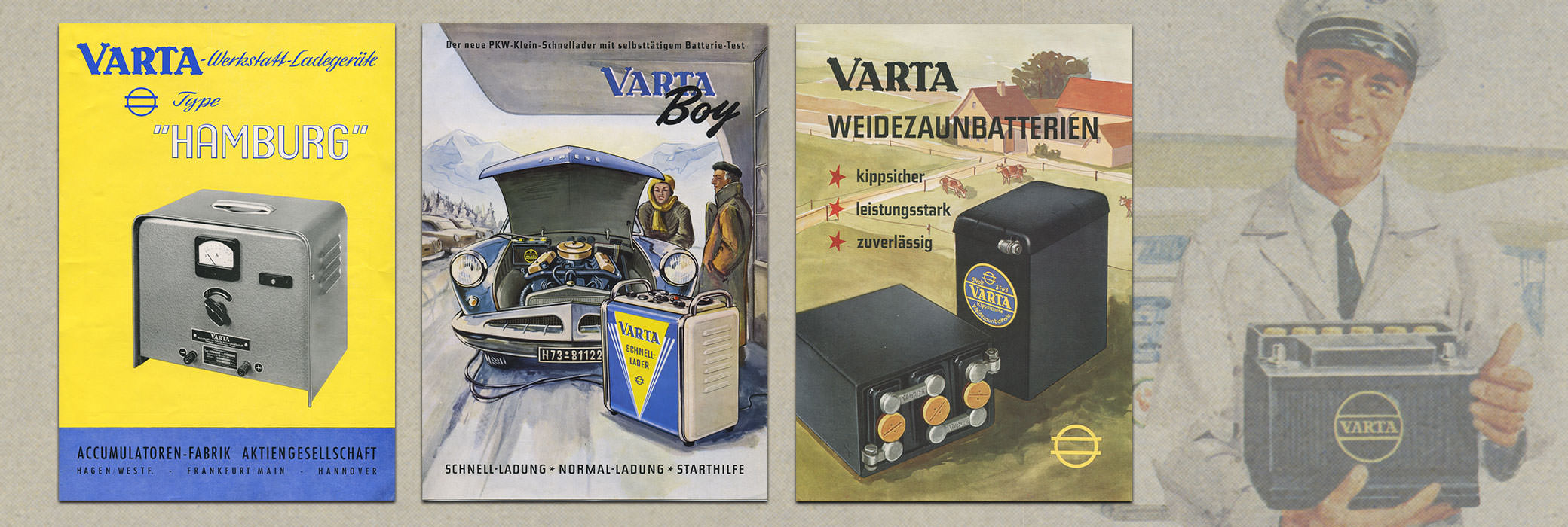 Colored VARTA® posters  from the seventies
