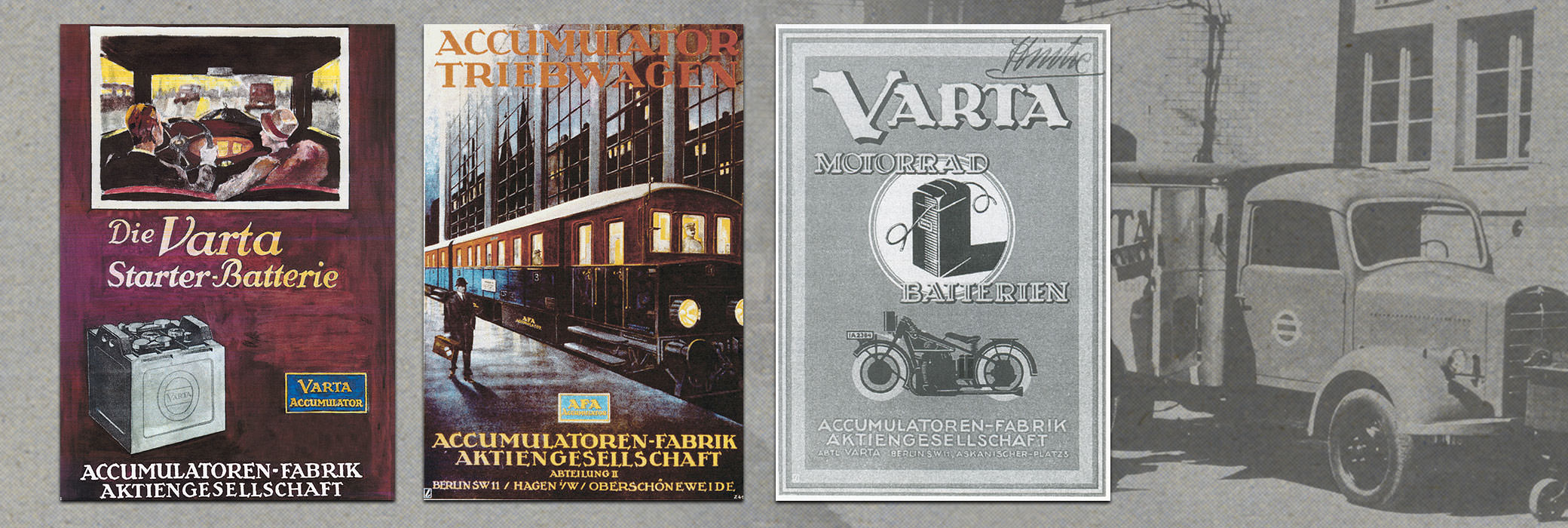 Several antique VARTA®  posters, two colored, one black and white