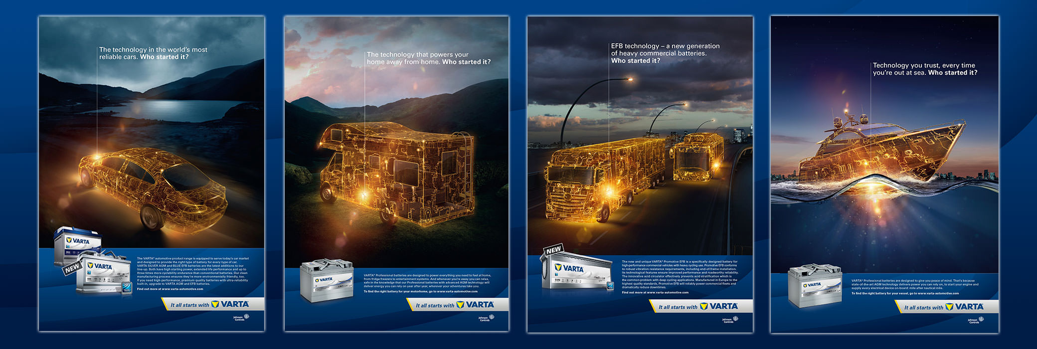 Four VARTA® posters showing the sections automotive, heavy commercial and leisure
