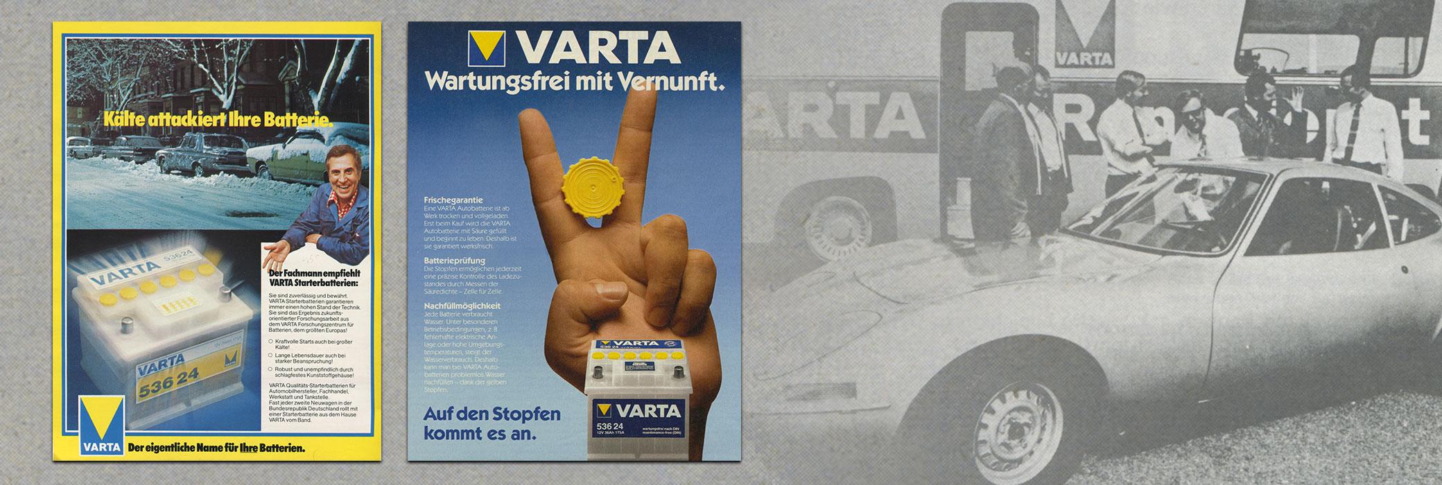 Tweekleurige VARTA® posters uit de jaren tachtig aan de linkerkant en een auto in zwart-wit aan de rechterkant