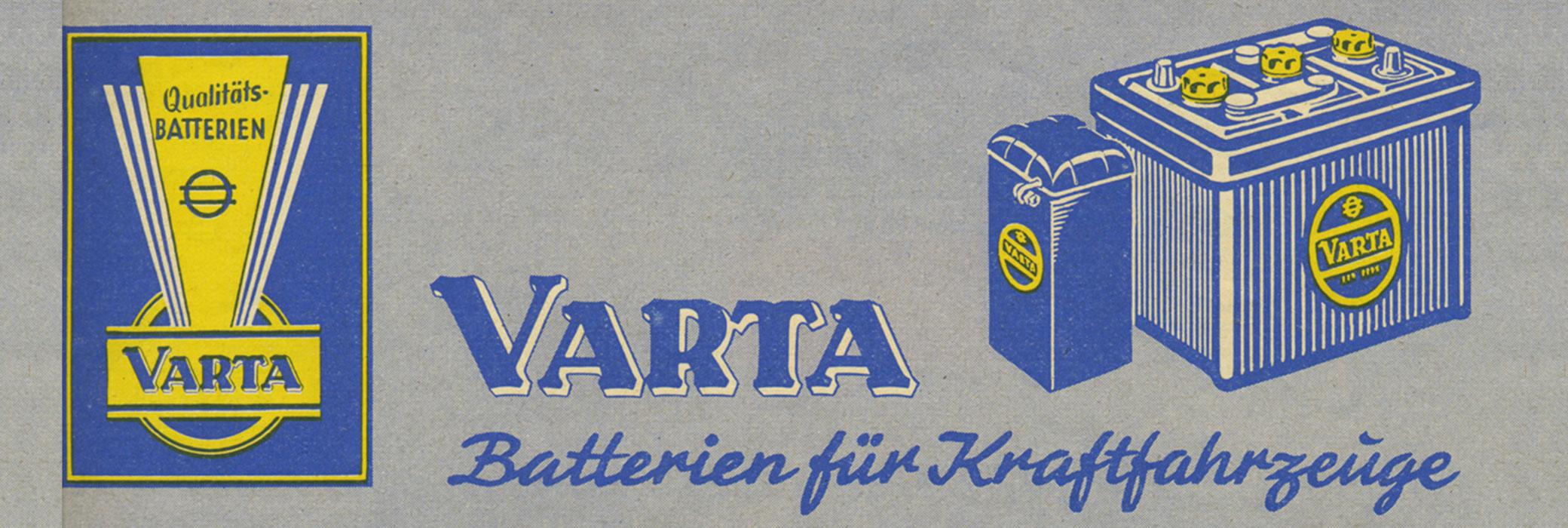 Dawna reklama akumulatora VARTA® wkolorze żółtym iniebieskim